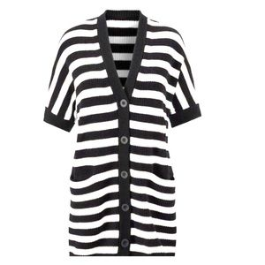 CAbi | Whistle Black White Stripe Cardigan